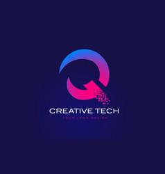 Q initial letter logo design with digital pixels vector