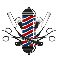 Razor and scissors symbol for barbershop vector