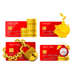 red credit card and golden objects icon set vector image