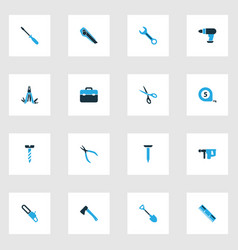 repair icons colored set with measurement hatchet vector image
