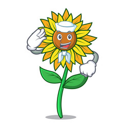 sailor sunflower character cartoon style vector image