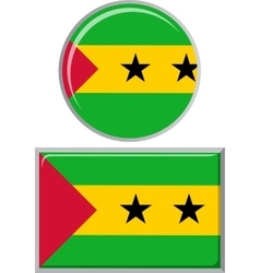 Sao Tome and Principe round square icon flag vector image