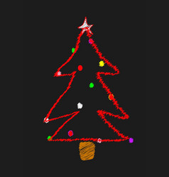 Scribble christmas tree vector