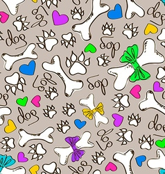 Seamless pattern of dogs paws and bones vector