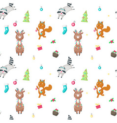seamless pattern with cute christmas vector image