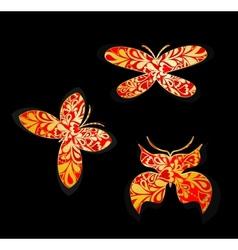 set gold butterflies vector image