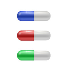 set of colored medical pills drugs set vector image