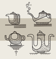 Set of four stylized silhouettes of teapots vector image