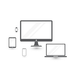 set of minimalistic computer monitor laptop vector image