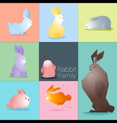 Set of rabbit family vector