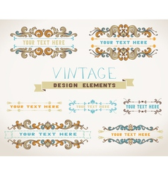 Set of vintage page decorations for text with vector image