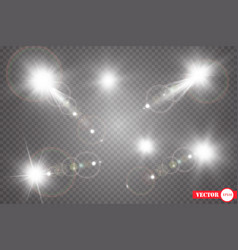 set shining star the sun particles and sparks vector image