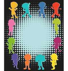 Silhouette children around the paper vector image