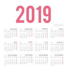 simple concept of calendar for 2019 new year vector image