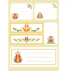 Simple floral print cards vector