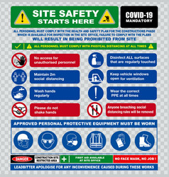 Site safety starts here or safety sign vector