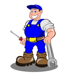 smiling mechanic man vector image