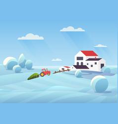 snowy winter landscape flat vector image