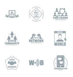 social network logo set simple style vector image