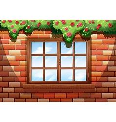 Sqaure window on brick wall vector