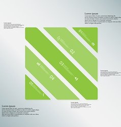 Square template consists of five green parts on vector