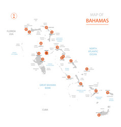 stylized bahamas map showing big cities capital vector image