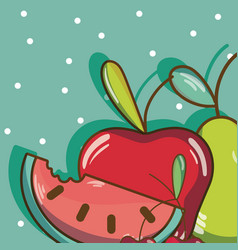 Sweet fruits cartoons vector