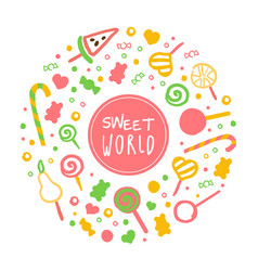 sweet world banner template with sweet desserts of vector image