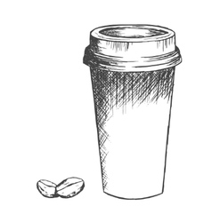 Take away coffee cup and beans sketch vector image