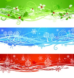 Three Christmas banners vector image