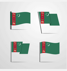 Turkmenistan waving flag set design vector