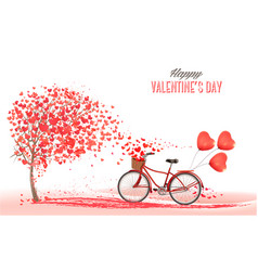 valentines day background with bicycle with red vector image