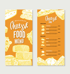 vintage cheese restaurant menu template vector image