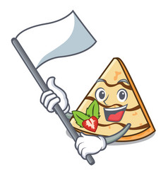 With flag crepe mascot cartoon style vector