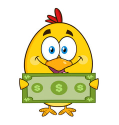 yellow chick cartoon character holding cash money vector image