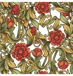 bright vintage pattern with decorative flowers vector image
