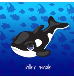Cartoon whale on a sea background vector image vector image