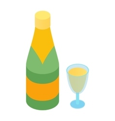 Champagne and glass isometric 3d icon vector image vector image
