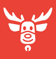 christmas deer glyph icon new year and christmas vector image