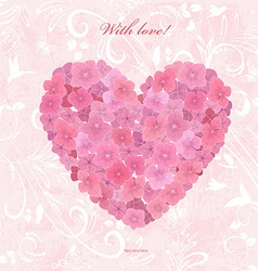 Invitation card with love a flower heart of vector image