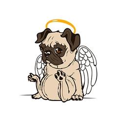 Pug Puppy Angel vector image vector image