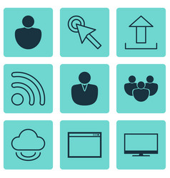 set of 9 internet icons includes program human vector image