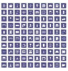 100 interior icons set grunge sapphire vector image vector image