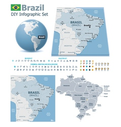 Federative Republic of Brazil maps with markers vector image vector image