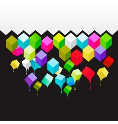 Flying colored 3d cubes abstract background vector image vector image