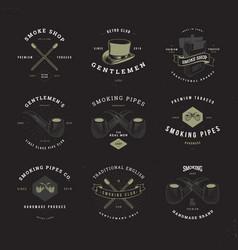 smoking pipes logo set invert vector image