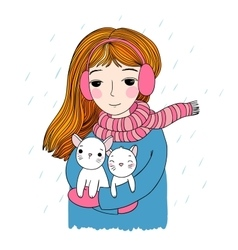 The young beautiful girl with two cute little vector image vector image