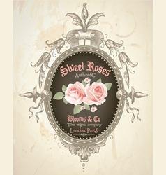 Vintage rose frame vector