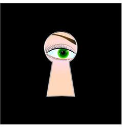 female eye looking through a keyhole black vector image