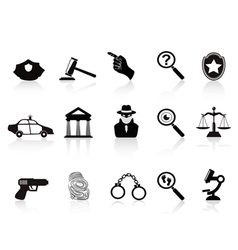 law and crime icons set vector image